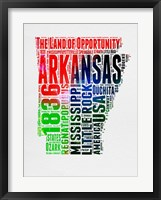 Framed Arkansas Watercolor Word Cloud