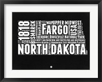 Framed North Dakota Black and White Map