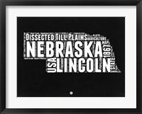 Framed Nebraska Black and White Map