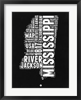 Framed Mississippi Black and White Map