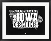 Framed Iowa Black and White Map
