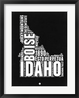 Framed Idaho Black and White Map