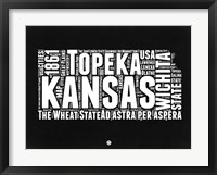 Framed Kansas Black and White Map