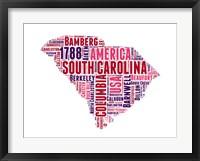 Framed South Carolina Word Cloud Map