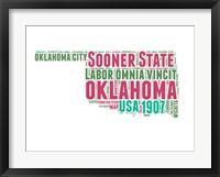 Framed Oklahoma Word Cloud Map