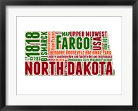 Framed North Dakota Word Cloud Map