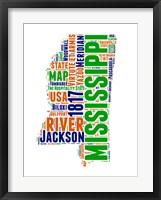 Framed Mississippi Word Cloud Map