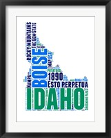 Framed Idaho Word Cloud Map