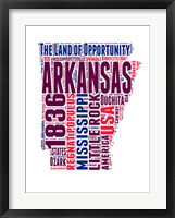 Framed Arkansas Word Cloud Map