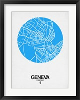Framed Geneva Street Map Blue