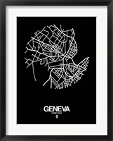 Framed Geneva Street Map Black