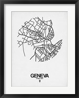 Framed Geneva Street Map White