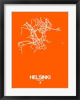 Framed Helsinki Street Map Orange