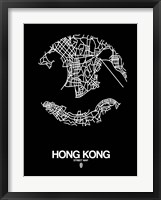 Framed Hong Kong Street Map Black