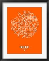 Framed Seoul Street Map Orange