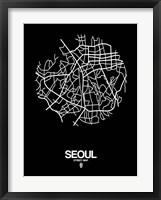 Framed Seoul Street Map Black