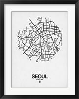 Framed Seoul Street Map White