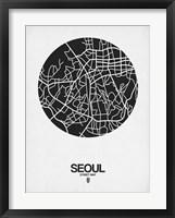 Framed Seoul Street Map Black on White