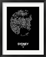 Framed Sydney Street Map Black