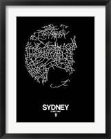 Framed Sydney Street Map Black