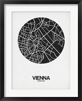 Framed Vienna Street Map Black on White