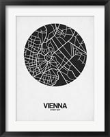 Framed Vienna Street Map Black on White