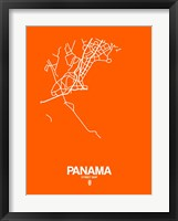 Framed Panama Street Map Orange