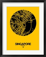 Framed Singapore Street Map Yellow