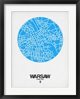Framed Warsaw Street Map Blue