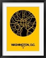 Framed Washington DC  Street Map Yellow