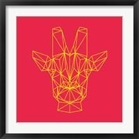 Framed Giraffe on Red
