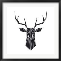 Framed Black Polygon Deer
