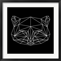 Framed Black Raccoon Polygon