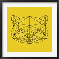 Framed Yellow Raccoon Polygon