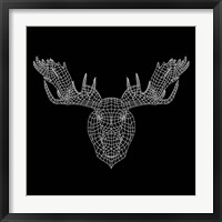 Framed Moose Head Black Mesh