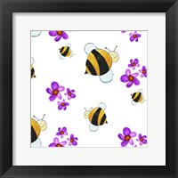 Framed Bees and Pink Flowers