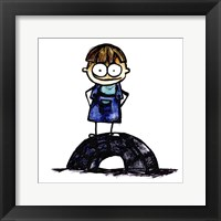Framed Boy on Tire