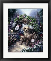 Framed Gardening Puppies