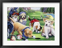 Framed Golfing Puppies