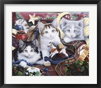 Framed Christmas Kittens And All The Trim'Ns