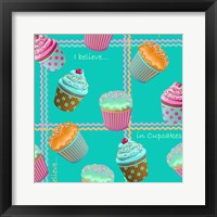 Framed Cupcake Turquoise