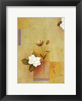 White Flower on Lilac and Yellow 4 Framed Print
