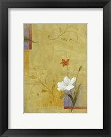 White Flower on Lilac and Yellow 3 Framed Print