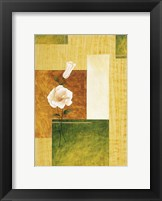 White Flower on Green and Yellow 1 Framed Print
