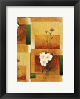 White Flower on Green and Yellow 2 Framed Print