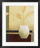 Framed Leaves and White Vase