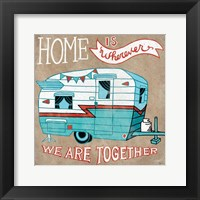 Adventure Love Camper Taupe Framed Print