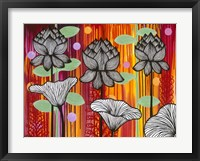 Framed Six White Stripe Flowers