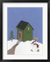 Dark Green Outhouse Framed Print