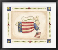 Framed Patriotic Bunny Angel With Flag